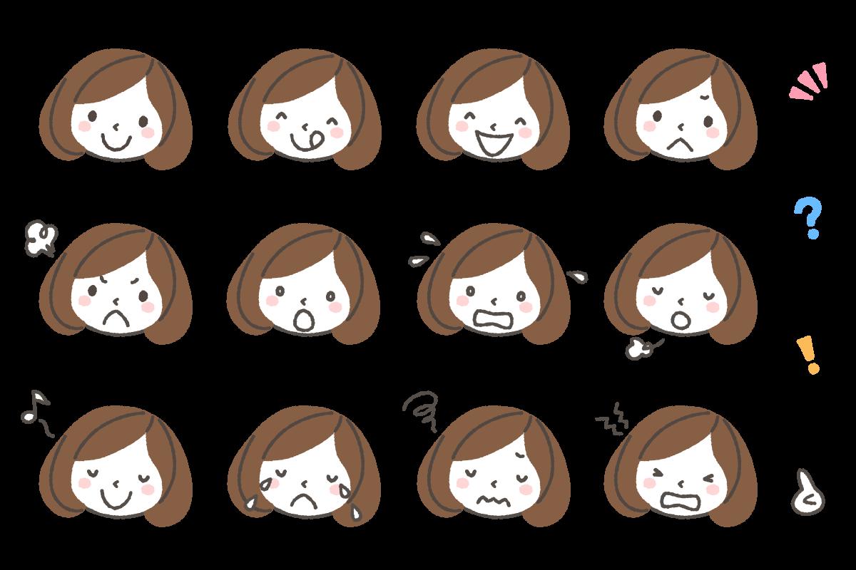 女性(薬剤師)の表情アイコンイラスト12種 | 可愛い無料イラスト